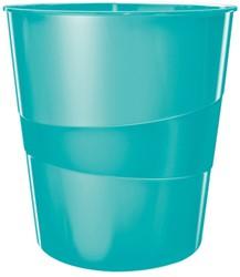 Papierbak Leitz WOW kunststof rond/taps ijsblauw 15 liter 290x324x290mm.