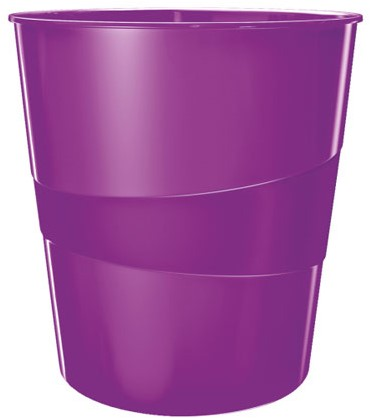 Papierbak Leitz WOW kunststof rond/taps paars 15 liter 290x324x290mm.