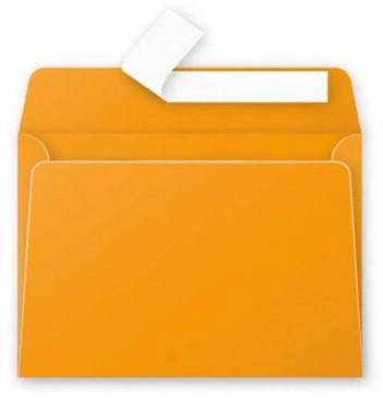 Gekleurde envelop Pollen C6 114x162mm 120 grams zelfklevend capucine (fel oranje) 20 stuks.