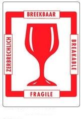 Veiligheidsetiket 100x70mm met afbeelding glas,  tekst in 4 talen, kleur rood-wit 500 stuks.