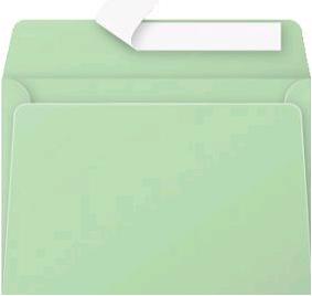 Gekleurde envelop Pollen C6 114x162mm 120 grams zelfklevend groen 20 stuks.