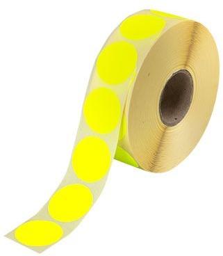 Etiket 35mm rond fluor-geel op rol permanent 1000 stuks.