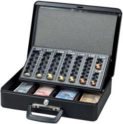 Geldkist Maul 370x290x120mm met euro muntinzetbak zwart.