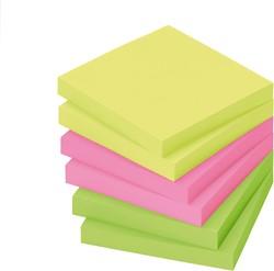 Memoblok zelfklevend Info-Notes 50x40mm assorti kleuren briljant 12 stuks.