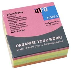 Kubusblok zelfklevend Info-Notes 75x75mm assorti kleuren briljant 320 vel.