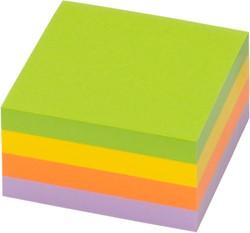 Zelfklevend kubusblok Info-Notes 75x75mm assorti kleuren spring 400 vel.