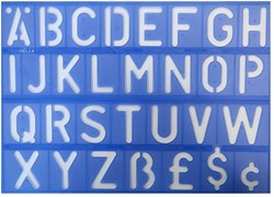 Lettersjabloon set Helix 50mm stencil.