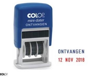 Datumstempel Colop S160 3mm met tekst ontvangen 2 kleuren inkt blauw/rood.
