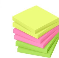 Memoblok zelfklevend Info-Notes 75x75mm assorti kleuren briljant 6 stuks.
