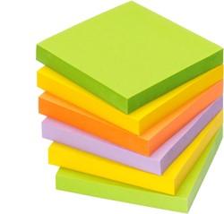 Zelfklevend memoblok Info-Notes 75x75mm assorti kleuren spring 6 stuks.