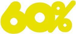 Etalagekarton fluor geel tekst 60% 21x52cm 380 grams pak van 10 stuks.