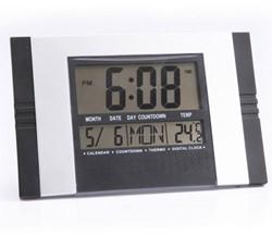 Wandklok 'Tiq' digitaal 285 x 190mm met tijd- datum- en temperatuurweergave in de kleur zwart/alu (VGW600).