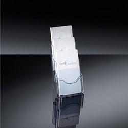 Folderstandaard Sigel  LH-133 1/3 A4 3-vaks glashelder acryl capaciteit 30 mm.