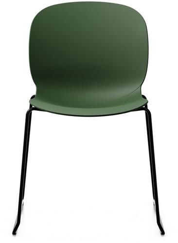 Bijzetstoel RBM Noor 6060 zitting en rug forest donkergroen frame slede in kleur zwart.