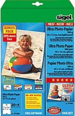 Fotopapier Sigel Ultra Paper glanzend 10x15cm 260 grams 20+4 vel (SI-IP606).