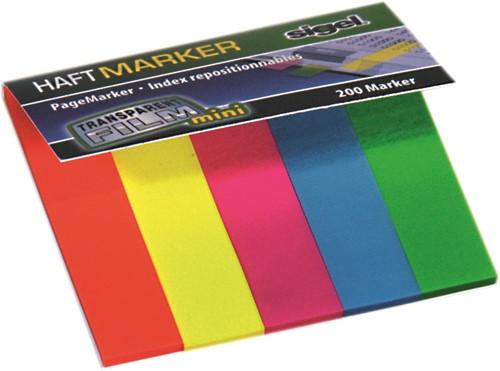 Indexeringsstrookjes Sigel 12x50mm 5 kleuren 5x40 stuks HN-615.