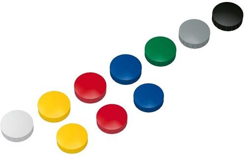 Magneten Solid Maul rond 20mm assorti  kleuren trekkracht 0.3kg 10 stuks.