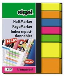 Indexeringsstrookjes Sigel 5 kleuren 5x50mm + 2 kleuren 12x50mm 7x40 stuks HN-616.
