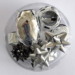 Cadeaulint en sterren zwart/zilver,