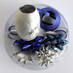 Cadeaulint en sterren blauw/zilver.