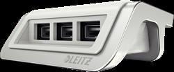 USB-oplader Leitz Style met 3 poorten in de kleur wit.