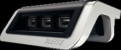 USB-oplader Leitz Style met 3 poorten in de kleur zwart.