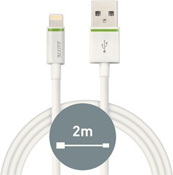 Oplaadkabel Leitz Complete Lightning-USB 2 meter wit.