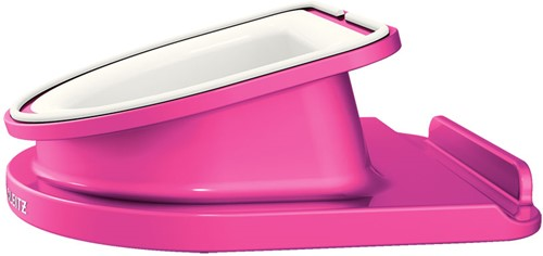 Bureaustandaard Leitz WOW draaibaar voor iPad/tablet-pc in de kleur roze.