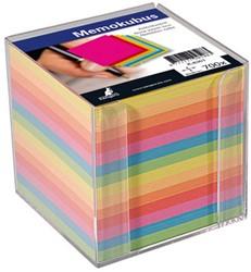 Memokubus Kangaro 90x90mm kunststof met greepsleuf incl. 700 vel papier assorti kleuren.