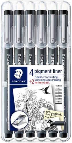 Fineliner Staedtler Pigment 308 zwart set 4 + 2 gratis.