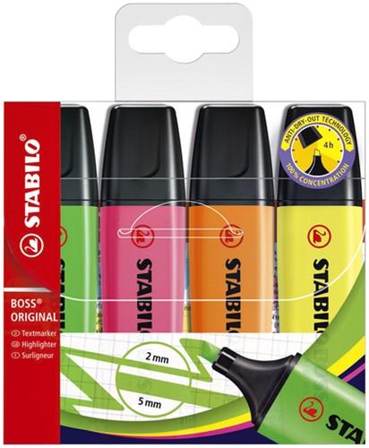 Markeerstift Stabilo Boss assorti kleuren 4 stuks.