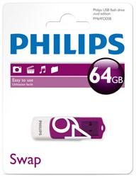 USB Stick Philips 64GB 2.0 'Vivid' met draaibaar beschermkapje.