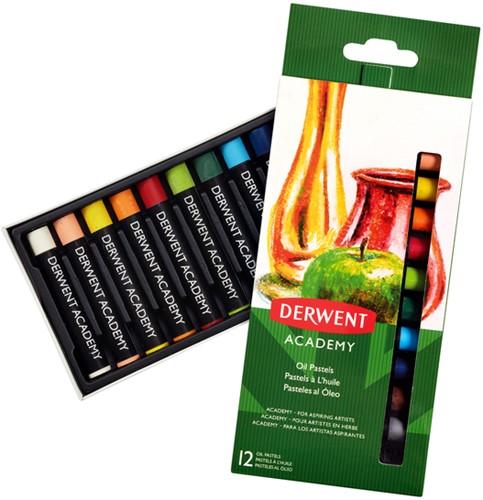 Oliepastel Derwent Academy blister à 12 stuks assorti.