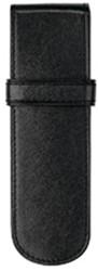 Pen etui Succes 2-vaks zwart leder AZ065DL02.
