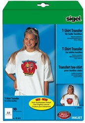 T-shirt transfer inkjet Sigel A4 voor lichtgekleurd textiel 10 vel.