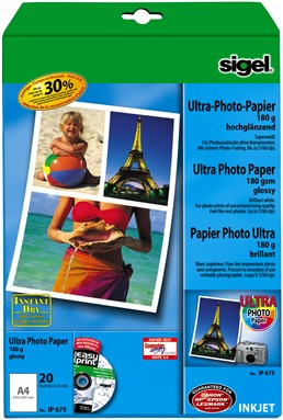 Fotopapier Sigel Ultra Paper glanzend A4 190 grams 20 ve (SI-IP675)l.