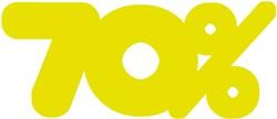 Etalagekarton fluor geel tekst 70% 21x52cm 380 grams pak van 10 stuks.
