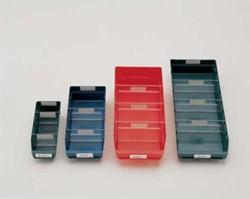 Stellingbakje blauw kunststof afmeting 300x118x95mm.