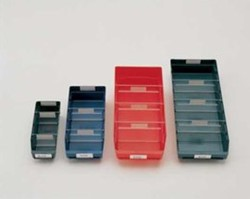 Stellingbakje blauw kunststof afmeting 300x180x95mm.