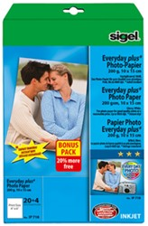 Fotopapier Sigel Everyday Plus glanzend 10x15cm 200 grams wit 20+4 vel (SI-IP718).