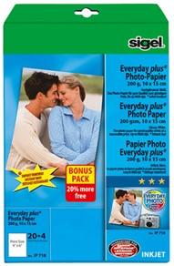 Fotopapier Sigel Everyday Plus glanzend 10x15cm 200 grams wit 20+4 vel (SI-IP718).