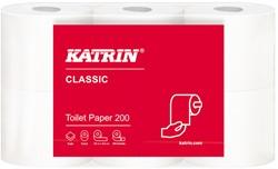 Toiletpapier Katrin Classic 200 wit 25mtr. 9,8x12,5 2-laags 200 vel 8x6 rollen.