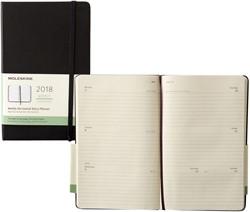 Agenda 2018 Moleskine Classic Weekly Notebook 13x21cm 12 maanden 7 dagen per 2 pagina's zwart, ivoorkleurig papier.