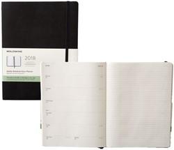 Agenda 2018 Moleskine Classic Weekly Notebook 19x25cm 12 maanden 7 dagen per 2 pagina's zwart ivoorkleurig papier.