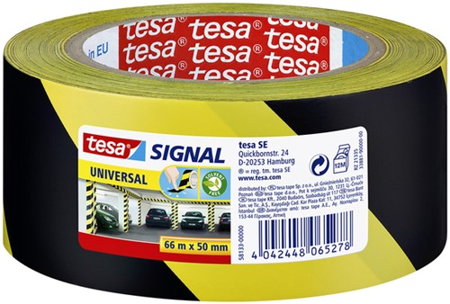 Waarschuwingstape Tesa 58133 50mmx66mtr geel/zwart.