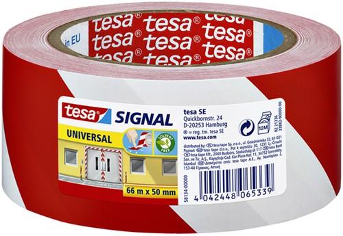 Waarschuwingstape Tesa 58134 rood/wit zelfklevend.