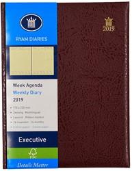 Agenda 2019 Ryam Executive 7 dagen per 2 pagina's 17x22cm omslag bordeaux creme papier (900194).