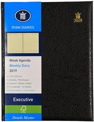 Agenda 2019 Ryam Executive 7 dagen per 2 pagina's 17x22cm omslag zwart creme papier (900108).