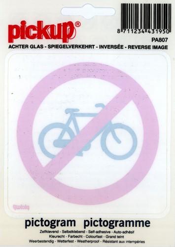 Pictogram sticker Pickup 10x10cm 'Verboden voor rijwielen' in spiegelbeeld.