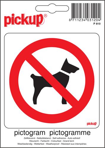Pictogram sticker Pickup 10x10cm 'Verboden voor honden'.